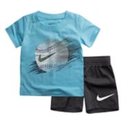 Baby Boy Nike Baseball Line Graphic Tee & Shorts Set