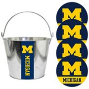 Michigan Wolverines Metal Drink Bucket & Paper Coaster 5 pc Set