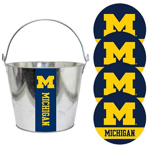 Michigan Wolverines Metal Drink Bucket & Paper Coaster 5-piece Set