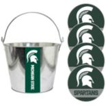 Michigan State Spartans Metal Drink Bucket & Paper Coaster 5-piece Set