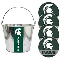 Michigan State Spartans Metal Drink Bucket & Paper Coaster 5 pc Set