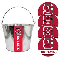 North Carolina State Wolfpack Metal Drink Bucket & Paper Coaster 5 pc Set