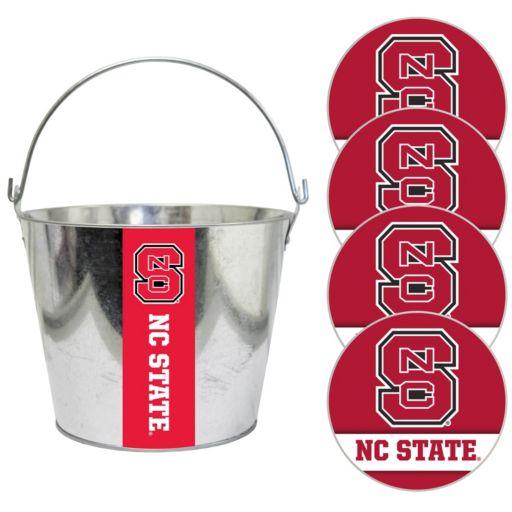 North Carolina State Wolfpack Metal Drink Bucket & Paper Coaster 5-piece Set