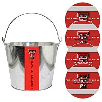 Texas Tech Red Raiders Metal Drink Bucket & Paper Coaster 5-piece Set