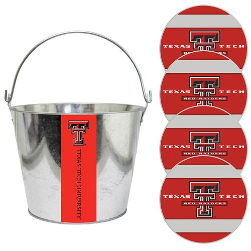Texas Tech Red Raiders Metal Drink Bucket & Paper Coaster 5-piece Set