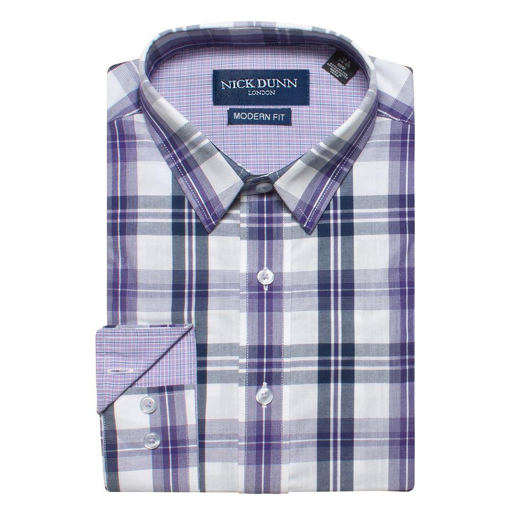 Men's Nick Dunn Modern-Fit Gingham Plaid Dress Shirt