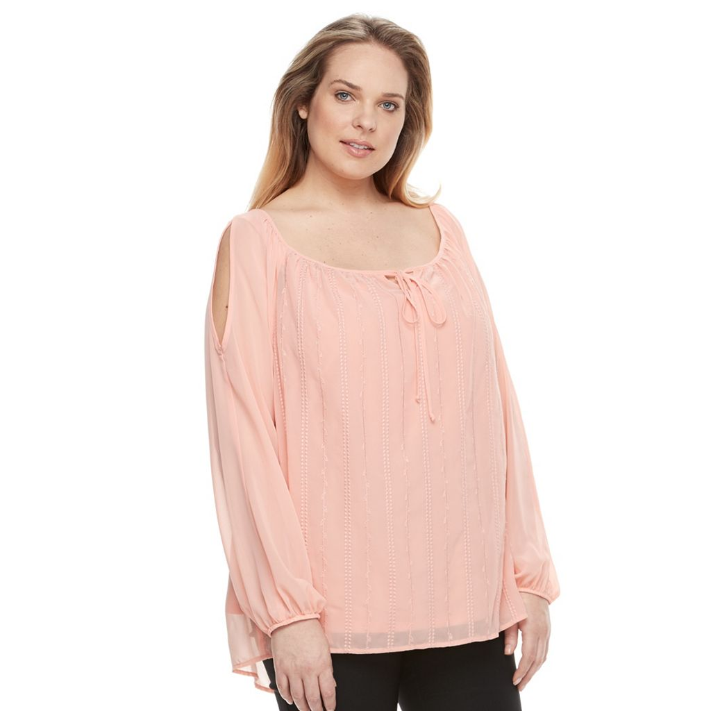 Plus Size AB Studio Embroidered Cold-Shoulder Peasant Top