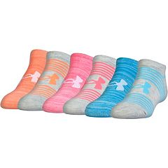Girls 7-16 Under Armour 6 pkStriped No-Show Socks
