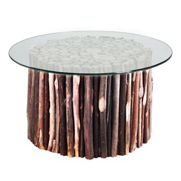 INK+IVY Topi Glass Top End Table