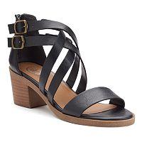 SO® Women's Crisscross Block Heel Sandals