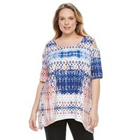Plus Size AB Studio Geometric Cold-Shoulder Necklace Top