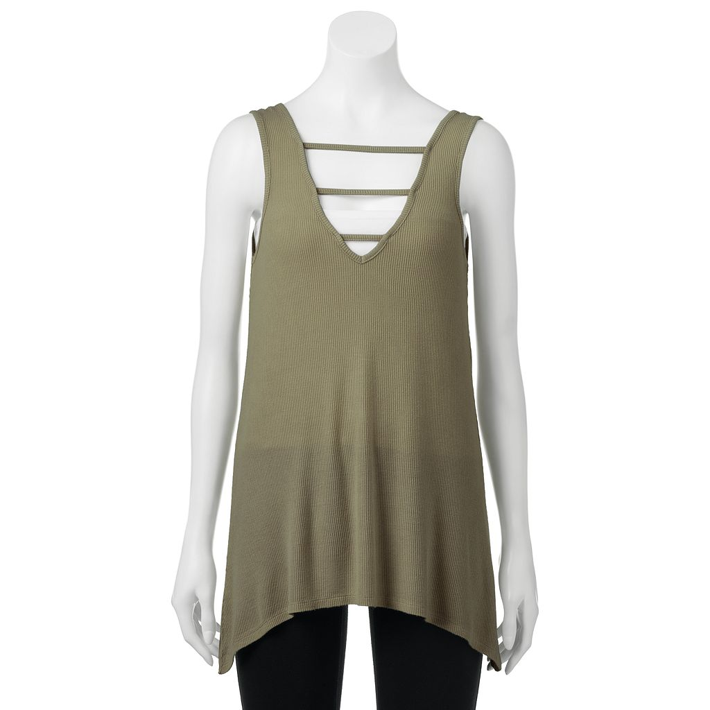madden NYC Juniors' Ribbed Strappy V-Neck Tank