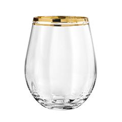 Qualia Tivoli Gold 4 pc Stemless Wine Glass Set