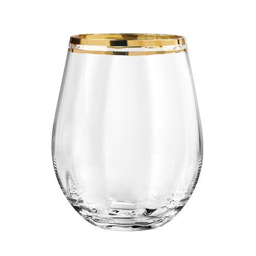 Qualia Tivoli Gold 4-pc. Stemless Wine Glass Set
