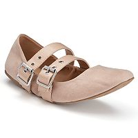 Candie's® Women's Double-Buckle Scrunch Flats