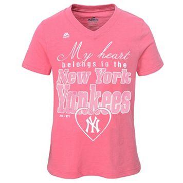 Girls 7-16 Majestic New York Yankees My Heart Belongs To Tee
