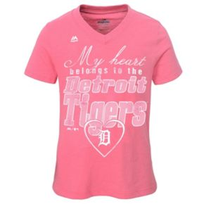 Girls 7-16 Majestic Detroit Tigers My Heart Belongs To Tee