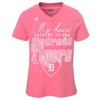 Girls 7-16 Majestic Detroit Tigers My Heart Belongs To Tee