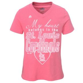 Girls 7-16 Majestic St. Louis Cardinals My Heart Belongs To Tee