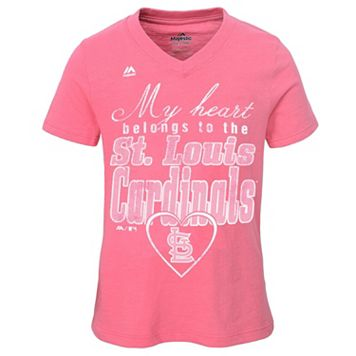 Girls 7-16 Majestic St. Louis Cardinals My Heart Belongs To Tee