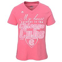 Girls 7-16 Majestic Chicago Cubs My Heart Belongs To Tee