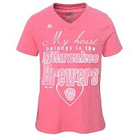 Girls 7-16 Majestic Milwaukee Brewers My Heart Belongs To Tee