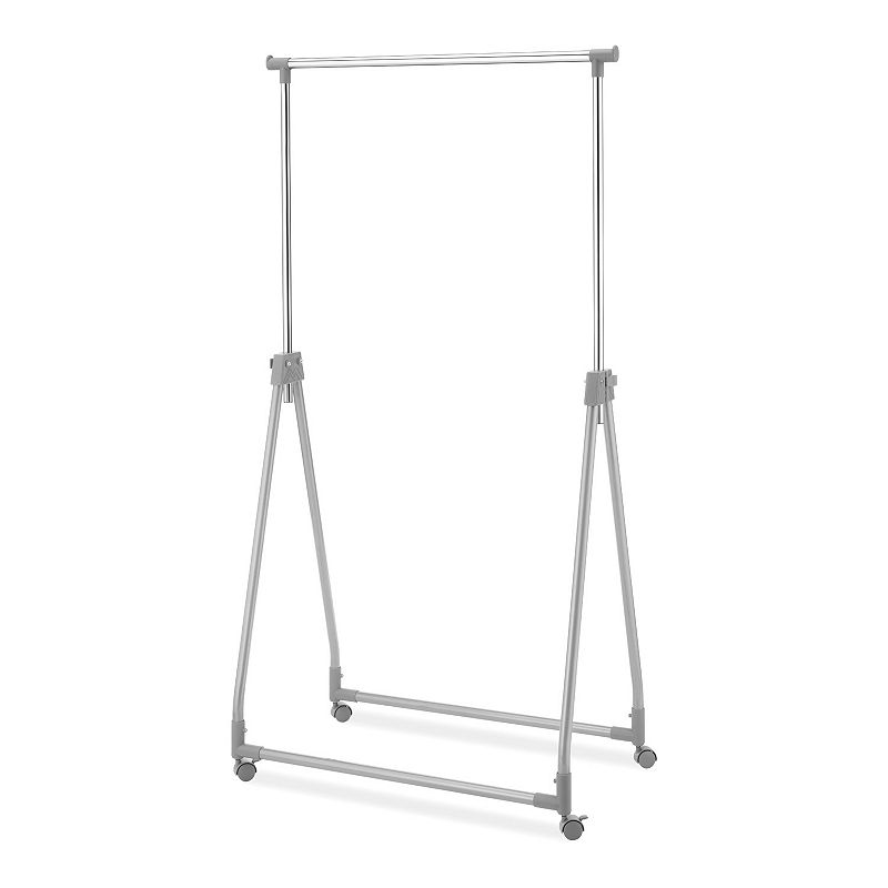 Whitmor Foldable Garment Rack, Silver Increase your hanging space with this Whitmor foldable garment rack. Features 66.25 H x 34.75 W x 22 D Enjoy extra hanging space in an instant Collapsible design offers compact storage Adjustable height Lightweight design for easy transport Construction & Care Metal, plastic Wipe clean Color: Silver. Gender: Unisex.