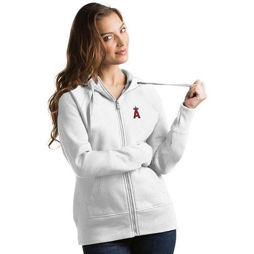 Women's Antigua Los Angeles Angels of Anaheim Victory Full-Zip Hoodie