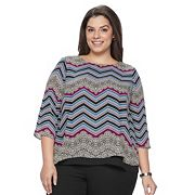 Plus Size Dana Buchman Split Back Layered Top
