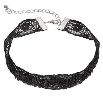 Mudd® Black Beaded Flower Lace Choker Necklace