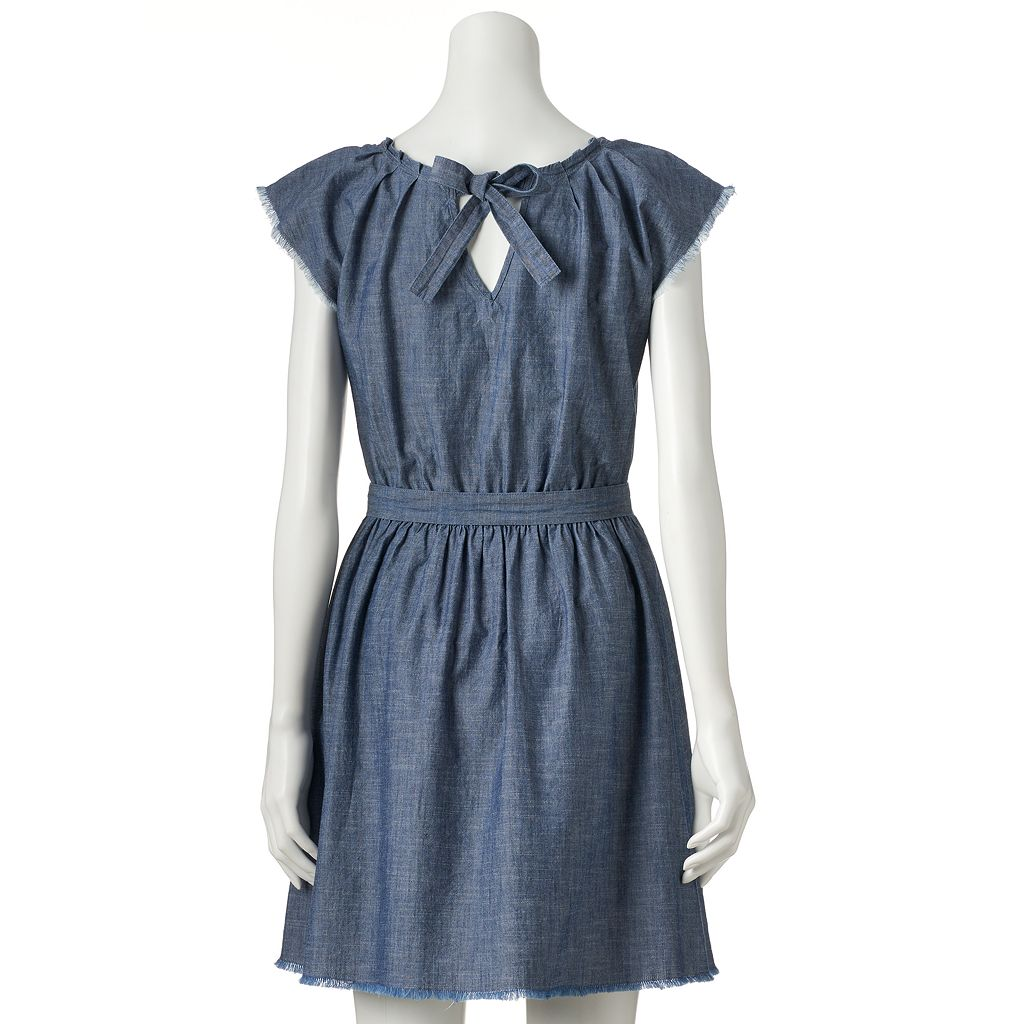 Women's LC Lauren Conrad Frayed Chambray Fit & Flare Dress