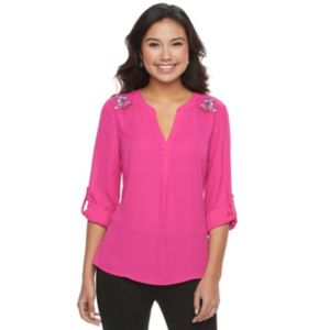 Juniors' Candie's® Embroidered Splitneck Top