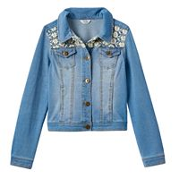 Girls 7-16 & Plus Size Mudd® Crocheted Yoke Knit Denim Jacket