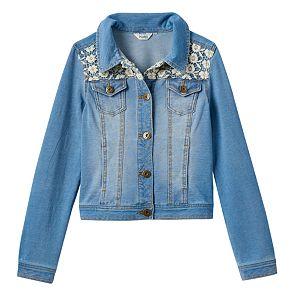 Girls 7-16 & Plus Size Mudd® Crocheted Yoke Knit Denim Jacket