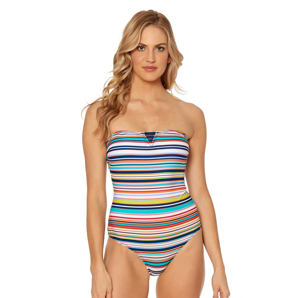 Women's Pink Envelope Striped Lace-Up One-Piece Swimsuit