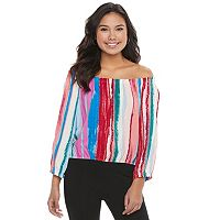 Juniors' Candie's® Print Off-the-Shoulder Top