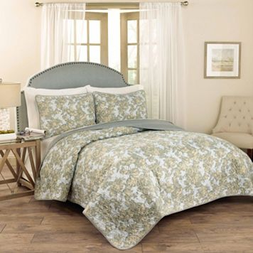Traditions by Waverly 3-piece Tulip Toile Quilt Set