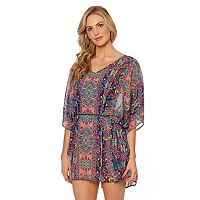 Women's Pink Envelope Medallion Belted Chiffon Cover-Up