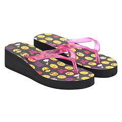 Girls 4-16 Emoji Wedge Flip Flops