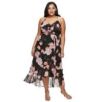 Plus Size Jennifer Lopez Floral Faux-Wrap Dress