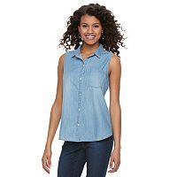 Juniors' SO® Chambray Sleeveless Shirt