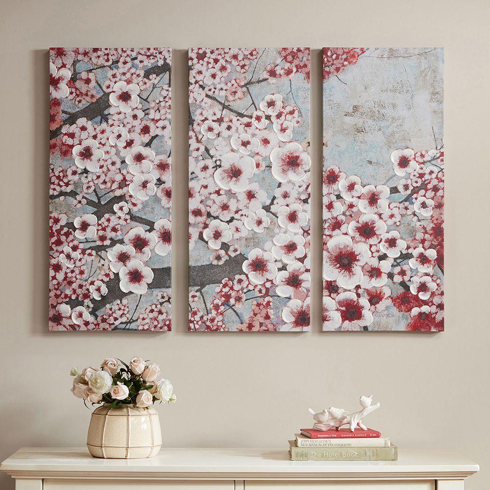 Madison Park Gleeful Bloom Canvas Wall Art 3-piece Set
