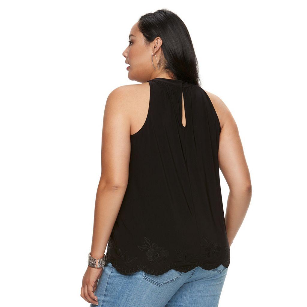 Plus Size Jennifer Lopez Embroidered-Trim Halter Top