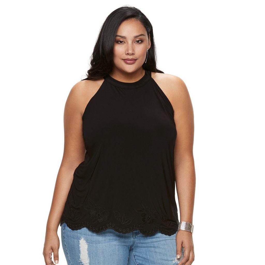 Plus Size Jennifer Lopez Embroidered-Trim Top