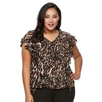 Plus Size Jennifer Lopez Printed Crepe Top
