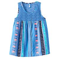 Girls 7-16 Mudd® Crochet Lace Yoke Patterned Tank Top