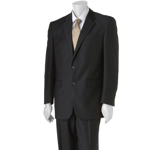 Big & Tall Chaps Shadow Striped Wool Black Suit Jacket