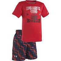 Baby Boy Under Armour Linear Logo Tee & Print Shorts Set