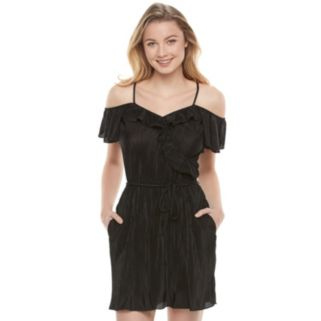 Juniors' Candie's® Black Ruffle Cold Shoulder Dress