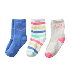 Girls 4-6 Carter's 3 pkHello Crew Socks